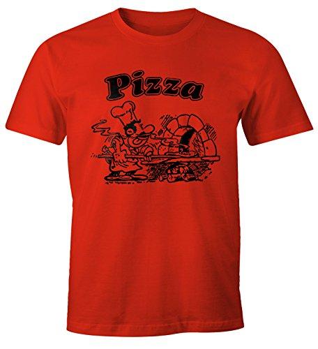 MoonWorks MoonWorks Pizza Shirt Schachtel Motiv Italiano Italien Fun-Shirt rot XS