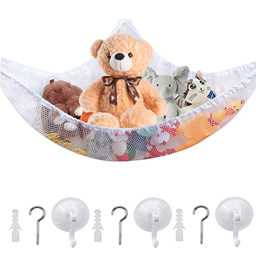 wangjiangda Toy Hammock for Stuffed Animals Net Hammock for Toys Soft Bedroom Organiser Storage with Suction Cups and Hooks for Boy Girl Accessories for Small Rooms Tidy, 59.05 * 39.37 * 39.37 Inches