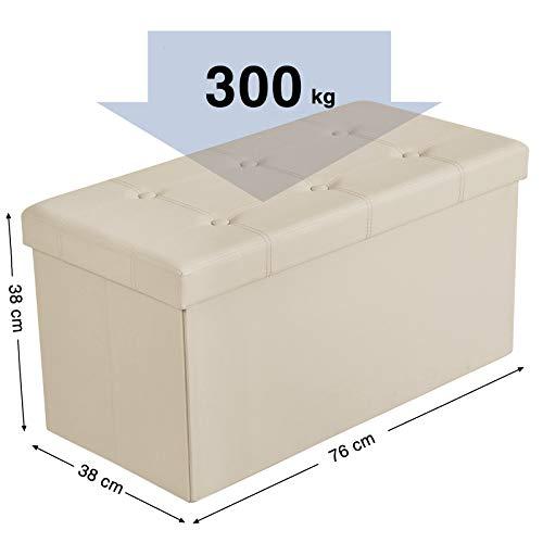 SONGMICS Sitzhocker Sitzbank mit Stauraum faltbar 2-Sitzer belastbar bis 300 kg Kunstleder beige 76 x 38 x 38 cm LSF40M - 4
