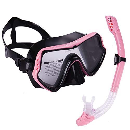 Joomouney Taucherbrille Set Erwachsene und Jugendliche Schnorchelset mit Dry Schnorchel und Anti-Fog Anti-Leck Schnorchelmaske für Schnorcheln