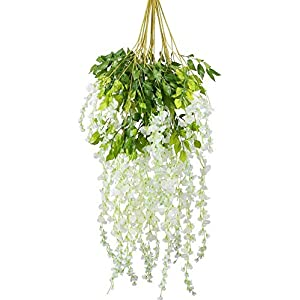 XHXSTORE 12PCS 3.6 Feet Artificial Silk Wisteria Vine Flowers Hanging Wisteria Garland Fake Wisteria Vine Ratta Faux Silk Wisteria Ivy for Wedding Garden Home Wall Party Hotel Decor White