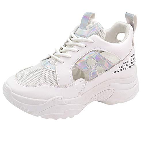 Damen Plattform Outdoor Sneakers,Turnschuhe Mode Frauen Color Line Mesh atmungsaktive Schuhe,Freizeitschuhe-Joggingschuhe-Runningschuhe-Haferlschuhe Fitness URIBAKY