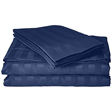 Elegant Comfort #1 Bed Sheet Set on Amazon - Super Silky Soft - 1500 Thread Count Egyptian Quality Luxurious Wrinkle, Fade, Stain Resistant 6-Piece STRIPE Bed Sheet Set, California King Navy
