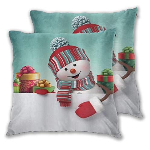ALLMILL Juego de 2 Decorativo Funda de Cojín Muñeco de Nieve y Cajas Navidad Multicolor Funda de Almohada Cuadrado para Sofá Cama Decoración para Hogar,50x50cm