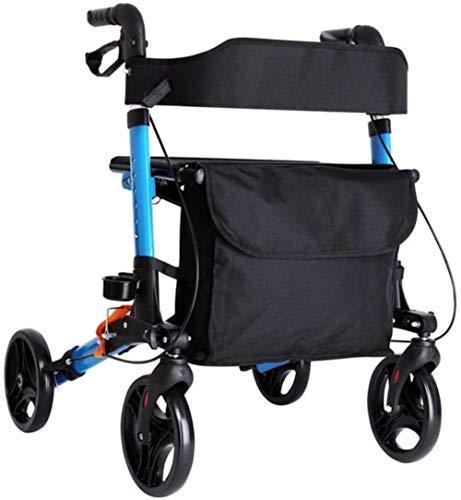 Andadores para discapacidad Andador para Ancianos Walker con Asiento Acolchado Bolsa de Transporte de Aluminio Andador de Altura Ajustable Ayuda a la Movilidad for el Adulto 🔥