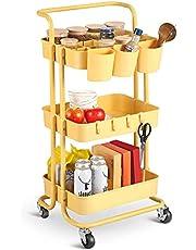 alvorog Trolley met 3 niveaus, opbergwagen keukenwagen met 3 ophangbekers en 4 haken, keukenrolwagen met wielen, serveerwagen met 2 remmen voor badkamer kantoor, rolling cart geel