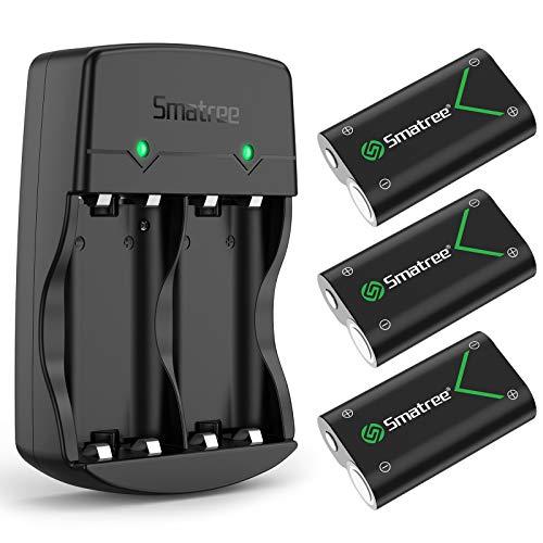 Smatree Kits Batterie Rechargeable pour Manette Xbox Series X / Xbox Series S / Xbox One /Xbox One S /Xbox One X/ Xbox Elite Sans fil,2000mAH (3-Pack) NI-MH Batteries et Chargeur avec 2 Slots