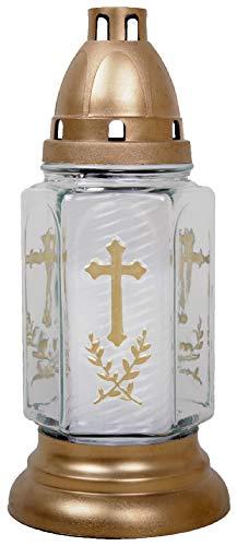 HS Candle Grableuchte aus Glas (24 cm) mit Kreuz inklusiv Kerze - Design Bella weiß