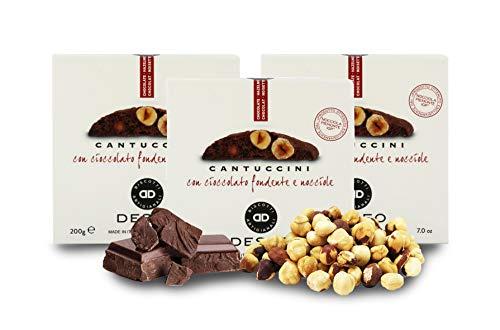 Deseo 3 Confezioni di cantuccini al Cioccolato Extra Fondente e Nocciola Piemonte IGP, Biscotti Artigianali - 3 x 200g