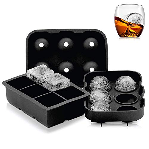 Ice Cube Trays Silicone Combo Mold Set of 2 Sphere Ice Ball Maker with Lid and Large Square Molds Reusable