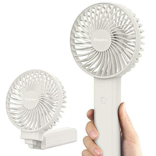 EasyAcc Handventilator 3350mAh USB Ventilator/Tragbarer Mini Lüfter Elektrischer 17 Stunde - Aufladbarem Batterie Faltbar Kompatibel mit Laptop Multi Port Steckdose für Reisen und Zuhause Weiß