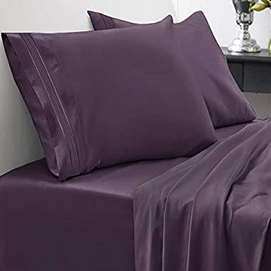 1500 Series Bed Sheet Set - HIGHEST QUALITY Brushed Microfiber 1500 Bedding - Wrinkle, Fade, Stain Resistant - Hypoallergenic 4 Piece Bed Sheet Set - Queen, Purple