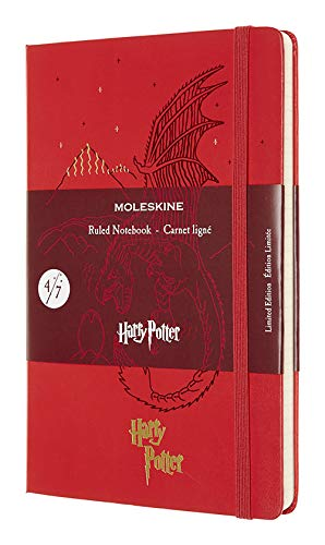 """Moleskine Limited Edition Harry Potter Notebook, Hard Cover, Large (5"""" x 8.25"""") Ruled/Lined, Geranium Red, 240 Pages"""