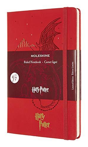 Moleskine - Harry Potter Limited Edition notitieboek, gelinieerd notitieboek, motief: Draak, hardcover met thematische afbeeldingen en details, afmeting 13 x 21 cm - kleur geranium rood, 240 pagina's