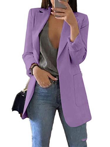 Generic Andongnywell Womens Long Sleeve Slim Suit Jacket Clearance Open Blazer Fit Work Office Cardigan Coat Overcoats (Purple 1,X-Large)