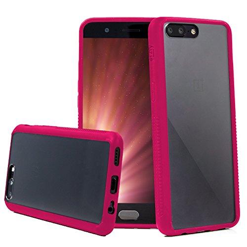 Orzly Funda OnePlus 5, Fusion [Anti-Shock] Bumper Case - Funda para el OnePlus 5 (2017 Modelo Smartphone) – Dura Cubierta Trasera (100% Transparente) con Bordes en Rosa Que absorben los Impactos