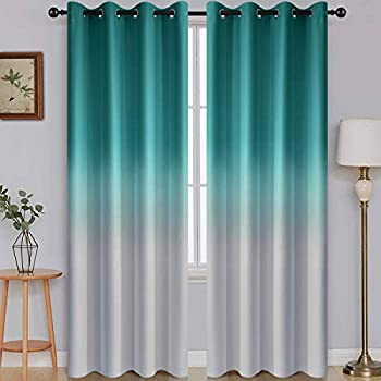 SimpleHome Ombre Room Darkening Curtains for Bedroom Light Blocking Gradient Teal to Grey White Thermal Insulated Grommet Window Curtains /Drapes for Living Room ,2 Panels 52x84 inches Length