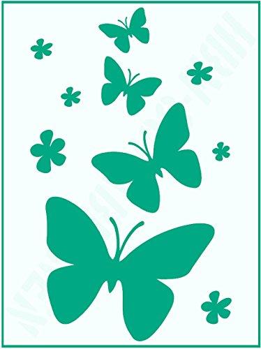 Motiv-Schablone ● Schmetterlinge und Blumen