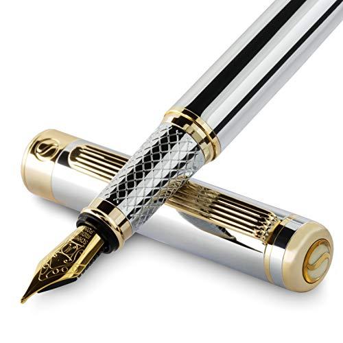Silver Chrome Fountain Pen Scriveiner - Stunning Luxury Pen with 24K Gold Finish, Schmidt 18K Gilded Nib (Medium), Best Pen Gift Set for Men & Women,...