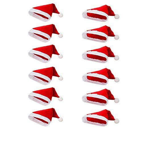 Pack of 12 Non-Woven Cloth Santa Hat Christmas Caps for Child, Adult, Red