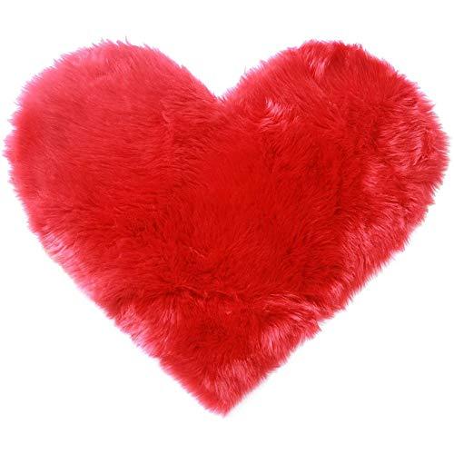 Vandove Alfombra Mullida, 70cm*90cm Alfombra de Piel Sintética Alfombra Corazón Melocotón, Suaves y Cómodas Cálidas Alfombras, para Salón Dormitorio Baño Sofá Silla Cojín (#1 Rojo)