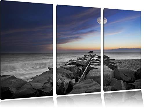 Stenen muur aan de kustFoto Canvas 3 deel | Maat: 120x80 cm | Wanddecoraties | Kunstdruk | Volledig gemonteerd