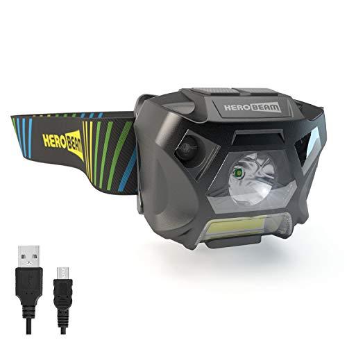 HeroBeam® Ultimative Stirnlampe - USB-wiederaufladbare Stirnlampe für Joggen, Wandern, Radfahren, Camping, Lesen, Heimwerken oder Basteln - Freihändige Ein-/Ausschaltungsmodi - Leicht und wetterfest
