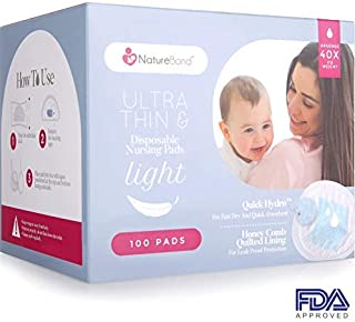NatureBond Ultra Thin Disposable Nursing Pads 100 Pcs. Breast Pads,  Light,  Contoured and Highly Absorbent Breastfeeding Milk Pads