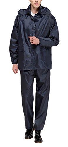 Unisex-Adulti Chubasquero+Pantalon Impermeable Dos Piezas Manga Larga con Capucha Ropa Impermeables Modernas Outdoor Motos Biker Trekking Poncho Impermeable Set Reutilizable