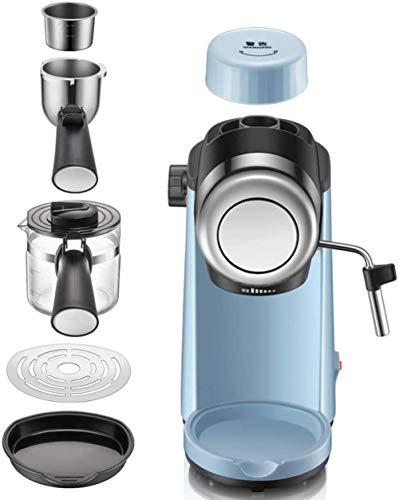 MISLD Cafetera, Espresso presión de 5 Bar/máquina termómetro observable / 240 ml / 800 vatios/Vapor Espuma de Leche más fácil de Usar/Oficina en casa - Azul