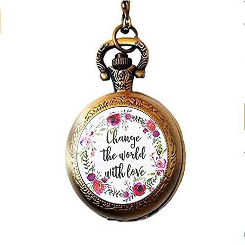 Bibelvers Taschenuhr, Halskette, mit englischer Aufschrift
