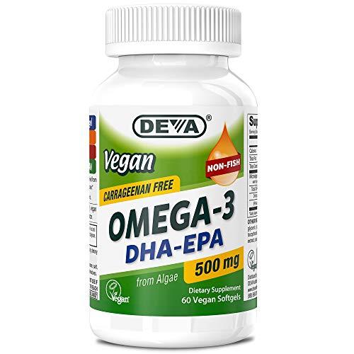 Deva Vegan Omega-3 DHA - EPA 500 mg Potency Carrageenan Free, 2 Months Supply, Non Fish from Algae, 60 Softgels