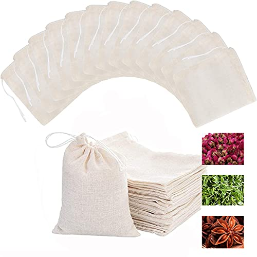 Cotton 50 Pcs Reusable Sachet Drawstring Packing Bags for Spices,Parties,Tea filter,dried herbs,cooking,handcrafted soap,odds and ends DIY Washable Muslin Bags Tare Weight Saver Wrap Bags (4X3Inches)