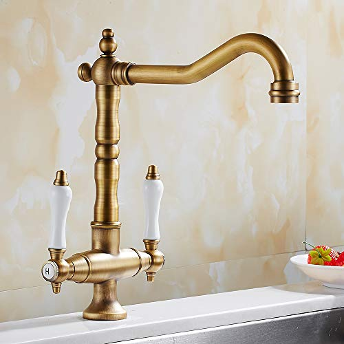 Traditional Kitchen Sink Mixer Tap Double Handle Solid Brass Kitchen Tap Antique Bronze Brass Georgian Classic Faucet