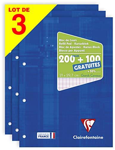Clairefontaine 65819AMZC - Un lot de 3 blocs de cours encollés grand côté 300 pages (200 + 100 gratuites) 90g, perforés 4 trous et grands carreaux, couvertures carte pelliculée, Bleu klein
