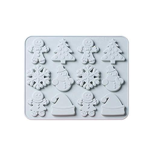 Hemistin DIY Silikon Kuchenform Lebkuchenmann Schneeflocke Weihnachten Backen Silikonform Schokolade Silikonform