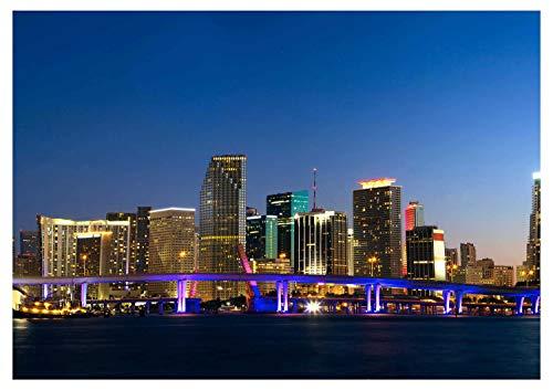 Fototapete Downtown Miami Skyline Panorama Vliestapete Wandtapete - Tapete - Moderne Wanddeko - Wandbilder - Fotogeschenke - Wand Dekoration, wandmotiv24, Größe: XL 350 x 245 cm - 7 Teile - Vlies