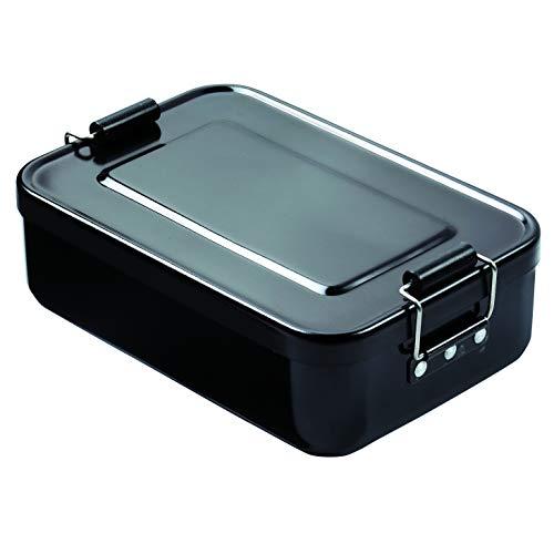 "elasto Robuste Brotdose Brotbüchse Lunchbox ""Aluminium"" Vesperdose Pausenbox BPA-Frei Vorratsdose Brotdose aus Metall 18 x 12 x 5cm (Schwarz)"