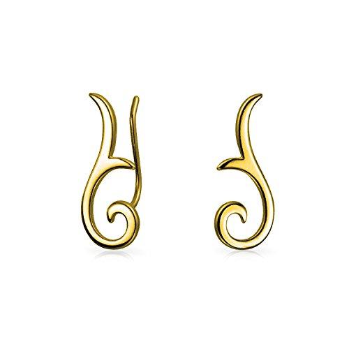 Minimalistische Geometrische Tribal Scroll Ohr Pin Crawler Kletterer Ohrringe Für Frauen Für Teen 14K Vergoldet Sterling Silber