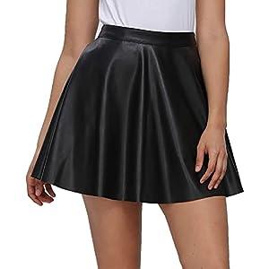Fahsyee Pleated High Waist Plus Size Faux Leather Skater Skirt 5