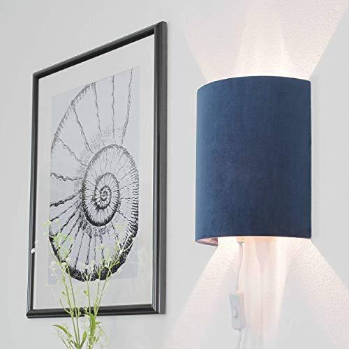 Wandlampe mit Stecker Blau Samt Modern ALICE Wandleuchte Schlafzimmer Wohnzimmer Flur