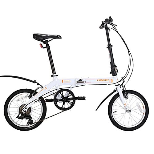 Bicicleta Plegable de 16 Pulgadas, Bicicletas de 6 Velocidades con Pedales Plegables Bilaterales Marco de Acero de Alto Carbono, para El Coche / Transporte Del Estudiante Al Trabajo ( Color : White )