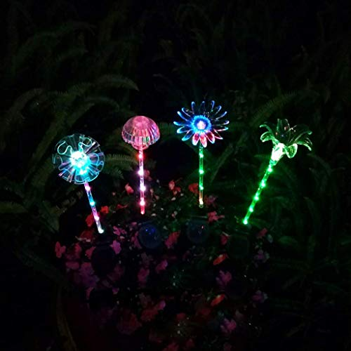 DBSCD Lampe Solaire d'extérieur Solar Power Garden Light Multi-Color Changing, 4 Pack, Lily Flower Ball Sunflower and Mushroom