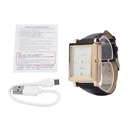 TAKE FANS, Hombres USB recargable a prueba de viento encendedor de cigarrillos sin llama y reloj de pulsera de cuarzo cuadrado (blanco)