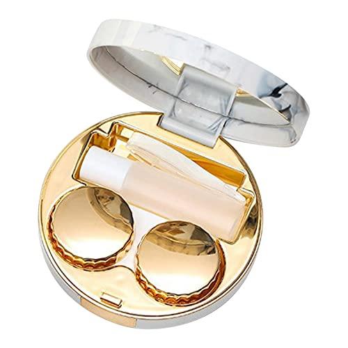 Yngffb Kontaktlinsenbehälter, Kontaktlinsen Aufbewahrung, kontaktlinsen box, Aus Kunststoff, einfach, tragbar, wiederverwendbar, reichhaltiges Zubehör, für Reisen, Zuhause (1 Stück, Gold)