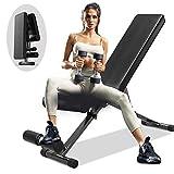 EXF Banco de pesas ajustable, banco de entrenamiento de fuerza para entrenamiento de cuerpo completo con plegado rápido (Full Black)