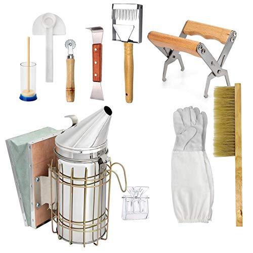Herramientas de apicultura, kit de herramientas de suministros de apicultura de 10 piezas que incluye ahumador de colmena, raspador de agarre de marco, barrido, cuchillo de miel, elevador de marco