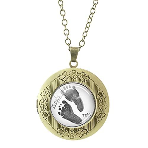 Nueva huella preciosa foto medallón collar nombres personalizados fecha recuerdo para papá bebé huella joyería