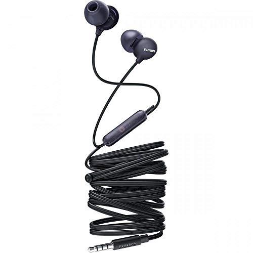 Philips Auriculares SHE2405BK 00 Auriculares con micrófono (micrófono Incorporado, Controlador de 8,6 mm, 3 Tipos de Auriculares, Carcasa translúcida, Cable de 1,2 m) Color Negro