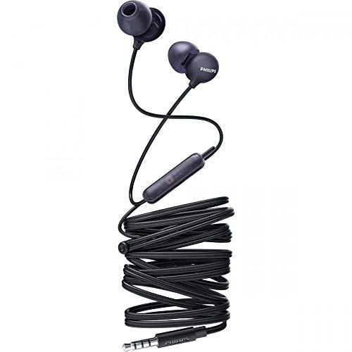 Philips Audio Upbeat She2405Bk/00 In Ears Koptelefoon (Geïntegreerde Microfoon, 8,6 Mm Driver, 3 Oordoptypes, Doorschijnende Behuizing, 1,2 M Kabel) Eén Maat, Zwart